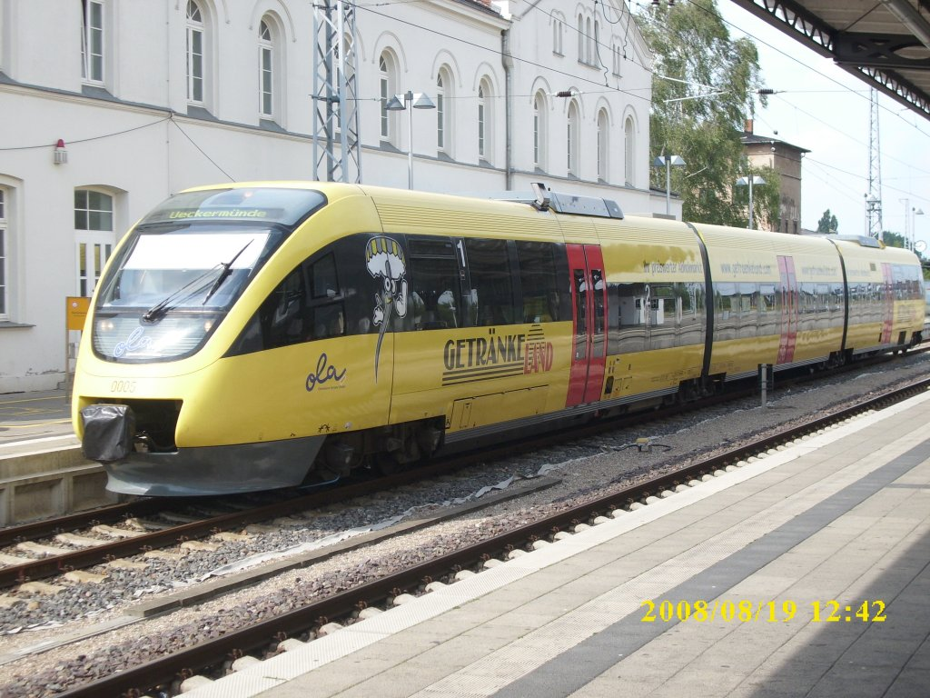 OLA-Triebwagen 0005 am 19.August 2009 in Güstrow.