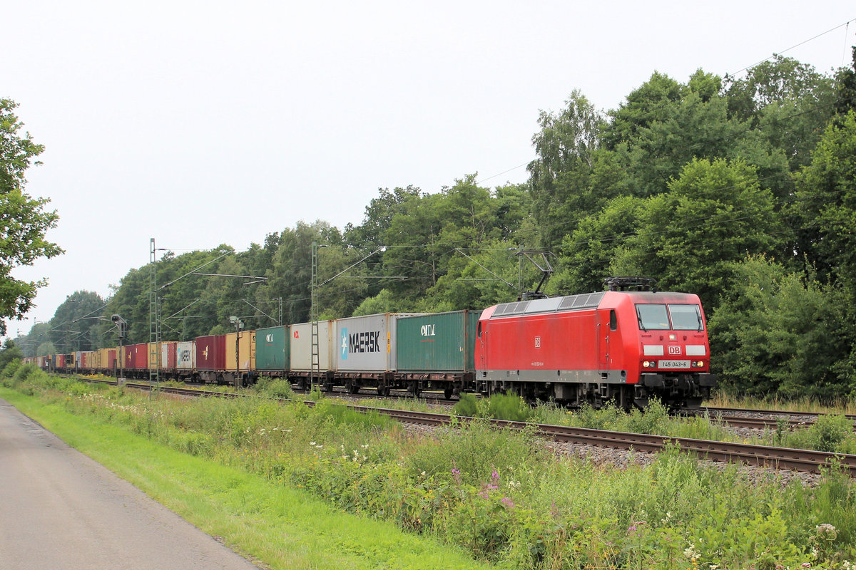 145 043-6 am 16.07.2016 in Tostedt - Dreihausen.