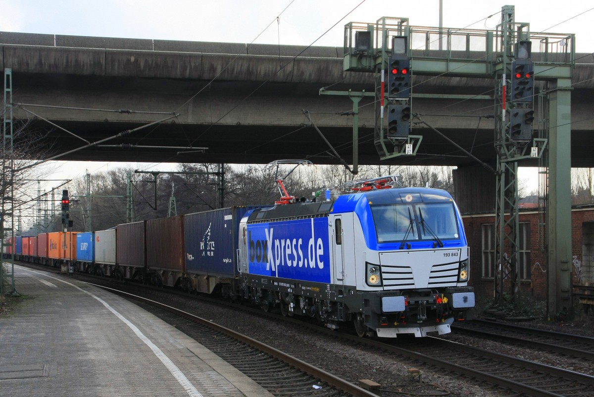 BoxXpress 193 843 mit Containerzug am 25.02.2015 in Hamburg-Harburg