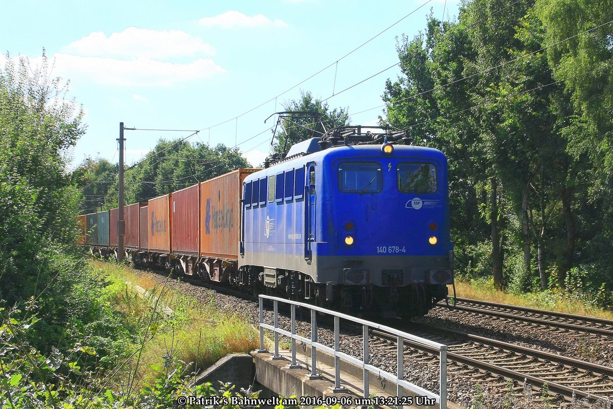 EGP 140 678 mit Containerzug am 06.09.2016 in Hamburg-Moorburg
