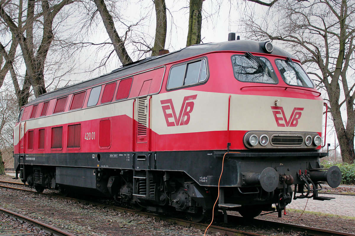 EVB 420 01 (ex DB - V169) am 08.01.2012 in Hamburg - Waltershof (Dradenau).
