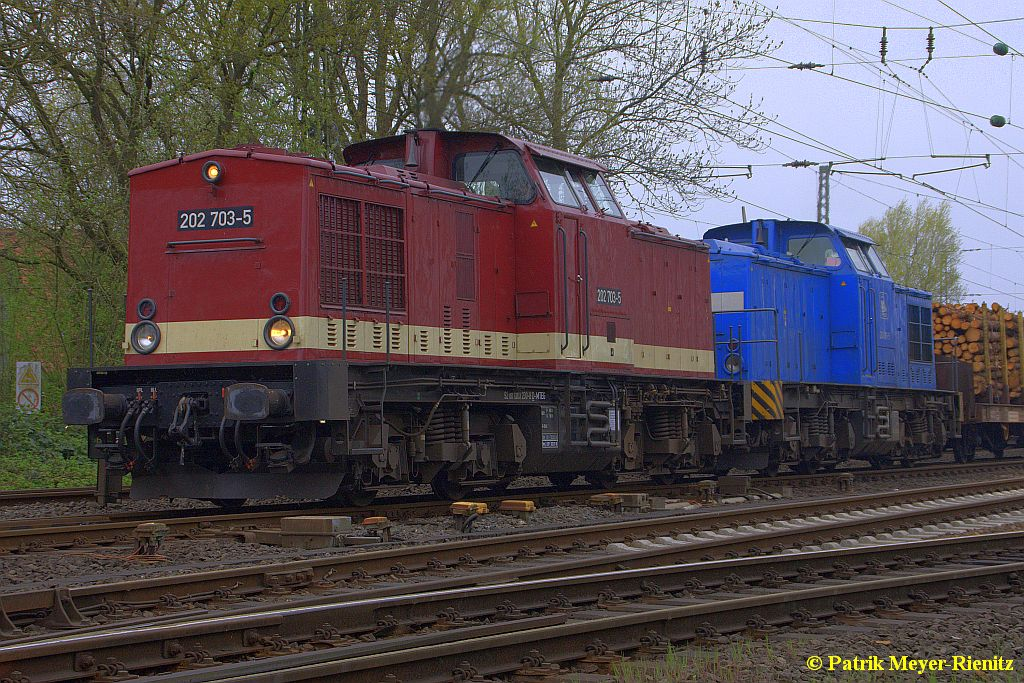 MTEG 202 703 + PRESS 204 011 in Stade Richtung Hamburg am 25.04.2015
