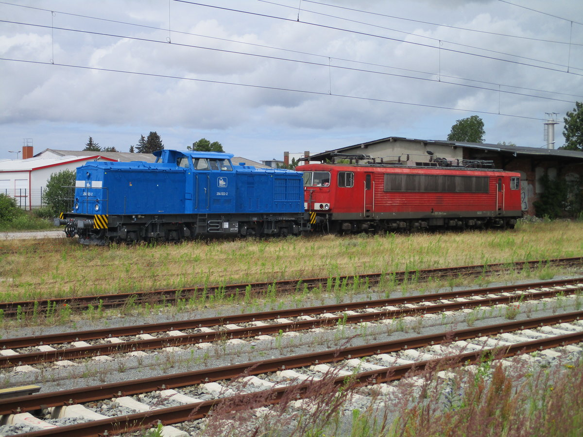 PRESS 204 022 und die 155 204,am 12.Juli 2020,in Bergen/Rügen.