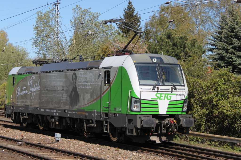 "SETG-Vectron 193 831 ""Christian Doppler"".beim Rangieren am 30.04.2017 in Rostock-Bramow."