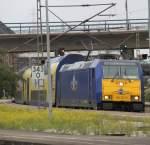 Hamburg-Spezial/151435/146-521-0moin-moin-als-me-von 146 521-0(Moin Moin) als ME von Hamburg Hbf nach Bremen Hbf kurz vor der Ausfahrt im Harburger Bahnhof.(23.07.2011)