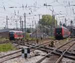 Rostock-Spezial/137682/paralelleinfahrt-im-rostocker-hbf-link180s-s3 Paralelleinfahrt im Rostocker Hbf link´s S3 von Rostock-Seehafen/Nord und recht´s RE 4356 von Lutherstadt Wittenberg Beide Züge haben sich ein Kopf an Kopf Rennen geliefert.(08.05.2011)