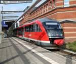 Rostock-Spezial/163971/mit-schicken-led180s-ist-642-079-7 mit schicken LED´s ist 642 079-7 als S3 von Rostock Hbf nach Rostock-Seehafen/Nord unterwegs,hier bei der Ausfahrt im Rostocker Hbf.19.10.2011