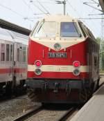 119 158-4/285377/119-158-4-als-leerfahrt-von-rostock 119 158-4 als Leerfahrt von Rostock Hbf nach Rostock-Bramow bei der Durchfahrt im Rostocker Hbf.10.08.2013