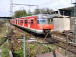 S-Bahn Rhein-Ruhr/110685/ein-db-420-ist-am-25042008 Ein DB 420 ist am 25.04.2008 auf dem Weg von Essen nach Haltern im Bahnhof Gladbeck-West unterwegs.