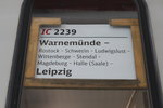 Zuglaufschild des IC 2239(Warnemünde-Leipzig)am 10.09.2016 in Warnemünde