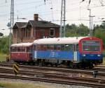 eisenbahngesellschaft-potsdamegp/285374/626-043-0798-610-2-als-sonderzug-von 626 043-0+798 610-2 als Sonderzug von Pritzwalk nach Warnemünde bei der Einfahrt im Rostocker Hbf.10.08.2013